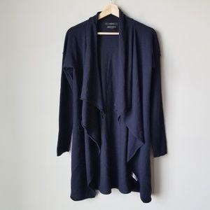 Tahari 100% Wool Blue Drape Front Long Cardigan